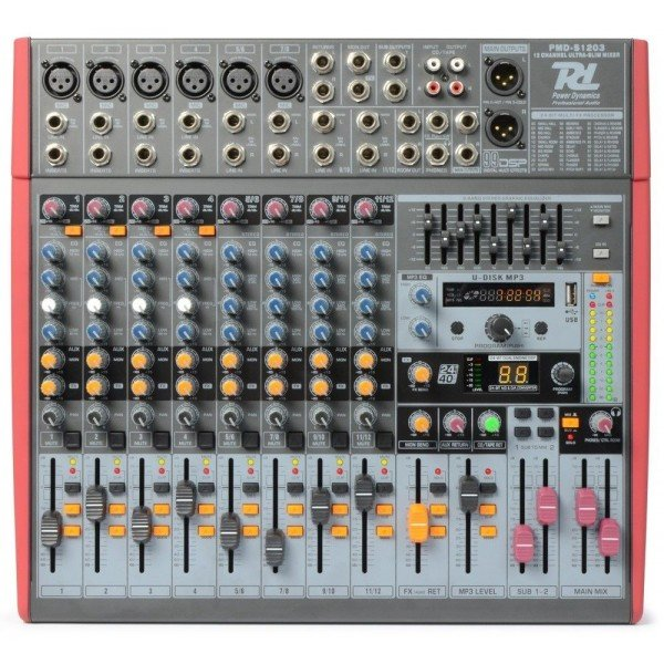 Power dynamics pdm s1203 stage mixer 12 kanaals dspmp3 usb inuit 2
